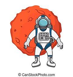 Planeta del sistema solar con astronauta