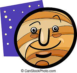 planeta, divertido, júpiter, caricatura, ilustración