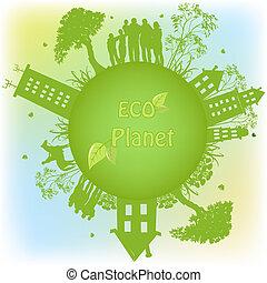 Planeta ecológico verde