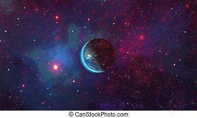 planeta, espacio, vistos, tierra