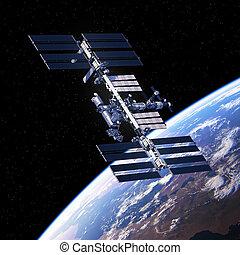 planeta, estación, internacional, el moverse en órbita alrededor, espacio, tierra