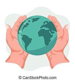 planeta, manos, tenencia, tierra