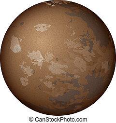 Planeta Marte, aislado en blanco