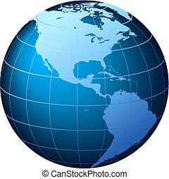 Planeta mundial - vista USA - vector