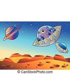 Planeta rojo con platillos voladores