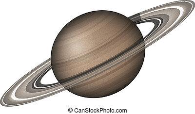 Planeta Saturn, aislado en blanco