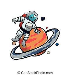 Planeta Saturno con astronauta