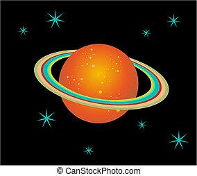 planeta, saturno, ilustración