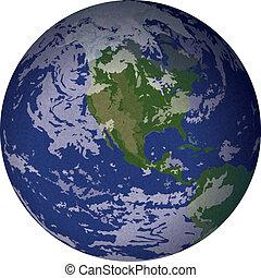 Planeta Tierra, aislado en blanco