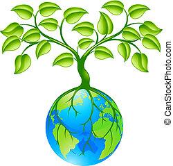 Planeta Tierra con árbol
