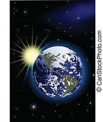 Planeta Tierra con amanecer en el espacio