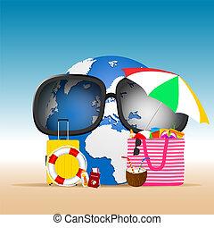 Planeta Tierra con cosas de playa ilustradas