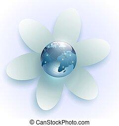 Planeta Tierra en el centro de la flor blanca