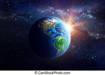 Planeta Tierra en el espacio exterior