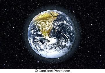 Planeta Tierra en el espacio