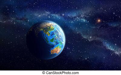 Planeta Tierra en el espacio profundo