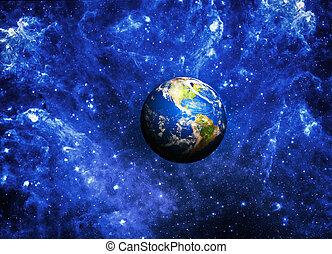 Planeta Tierra en lo profundo del espacio