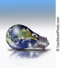 Planeta tierra en una bombilla