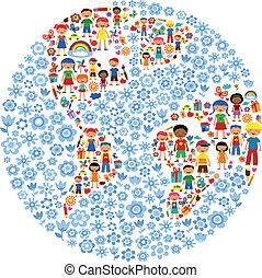 planeta, vector, niños, ilustración, colorido