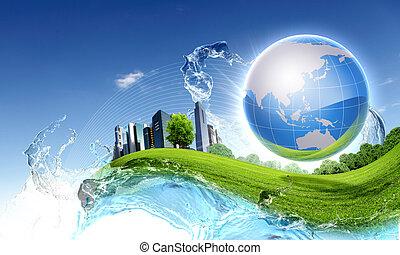Planeta verde contra cielo azul y naturaleza limpia