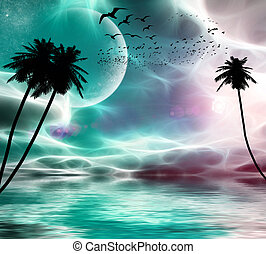 planeta, vuelo, árboles, estrellas, palma, plano de fondo, ocaso, aves