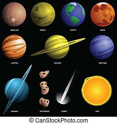 Planetas aislados en negro (no a escala)