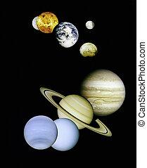 Planetas en el espacio exterior.