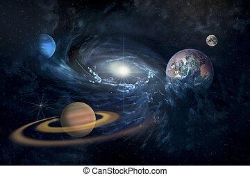 planetas, espacio de copia, imagen, amueblado, sistema solar, estrellado, nasa, elementos, universo, esto