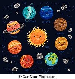 Planetas vectores coloridos fijados en fondo oscuro.