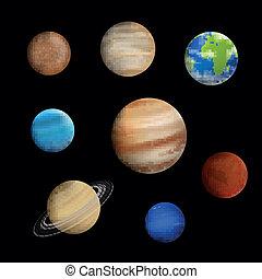Planetas vectores en el sistema solar