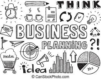 Planificación de negocios elementos de garabatos