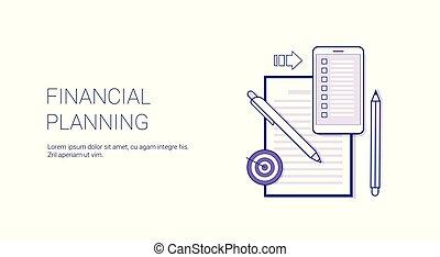Planificación financiera concepto de planificación empresarial plantilla web pancarta con espacio copiado