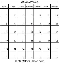 planificador, enero, mes, plano de fondo, 2014, calendario, transparente
