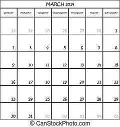 planificador, marzo, mes, plano de fondo, 2014, calendario, transparente