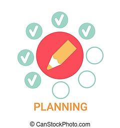 Planificando estandarte de estrategia de negocios de iconos