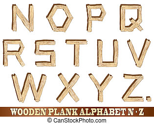 Plank de madera alfabeto N a Z