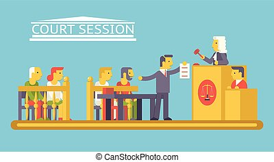 plano, abogado, tribunal, caracteres, ludge, justicia, moderno, escena, ilustración, vector, diseño, abogado, moderno, ley, acusado, plantilla