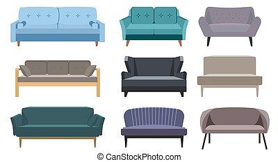 plano, aislado, modelos, illustration., style., icons., sofá, colección, set., caricatura, interior, salón, diseño, blanco, vector, diferente, fondo., cómodo, sofá