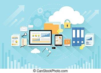 plano, almacenamiento, computadora, diseño, dispositivo, seguridad, datos, nube