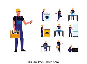 plano, aparatos, vector, carácter, ilustración, isolated., kit, reparador
