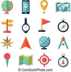 plano, cartografía, conjunto, icono