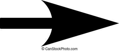 plano, color, flecha negra, x, eje, icono