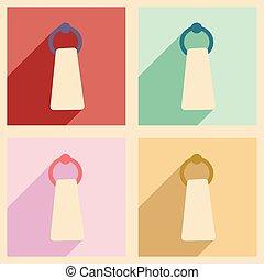 Plano con concepto de sombra y soporte de toalla móvil