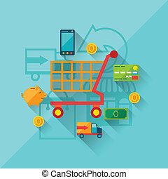 plano, concepto, compras, ilustración, diseño, internet, style.