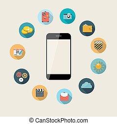 plano, concepto, illustration., móvil, apps, teléfono, vector, diseño