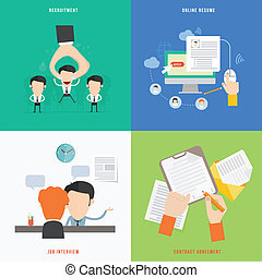 plano, concepto, reclutamiento, hora, elemento, proceso, diseño, icono