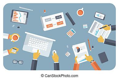 plano, concepto, reunión, ilustración negocio