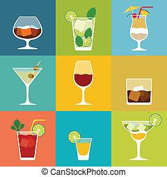 plano, conjunto, alcohol, cócteles, diseño, icono, style., bebidas