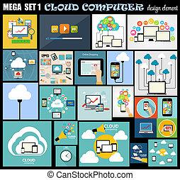 plano, conjunto, computadora, mega, ilustración, vector, diseño