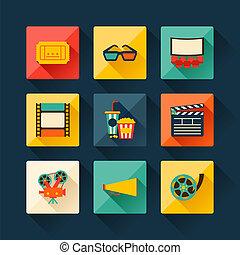 plano, conjunto, película, elementos, diseño, style.